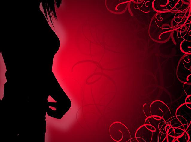 Ženská silueta na červenom pozadí, romantika, sexi